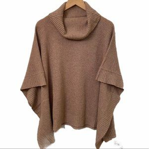 Dynamite Tan Knit Turtleneck Poncho, One Size